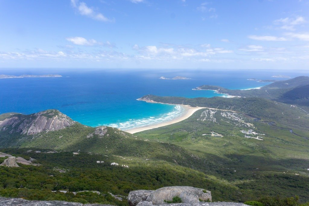 The Mount Oberon view of Squeaky Beach, Picnic Beach, and Whiskey Bay Wilson's promontory walks