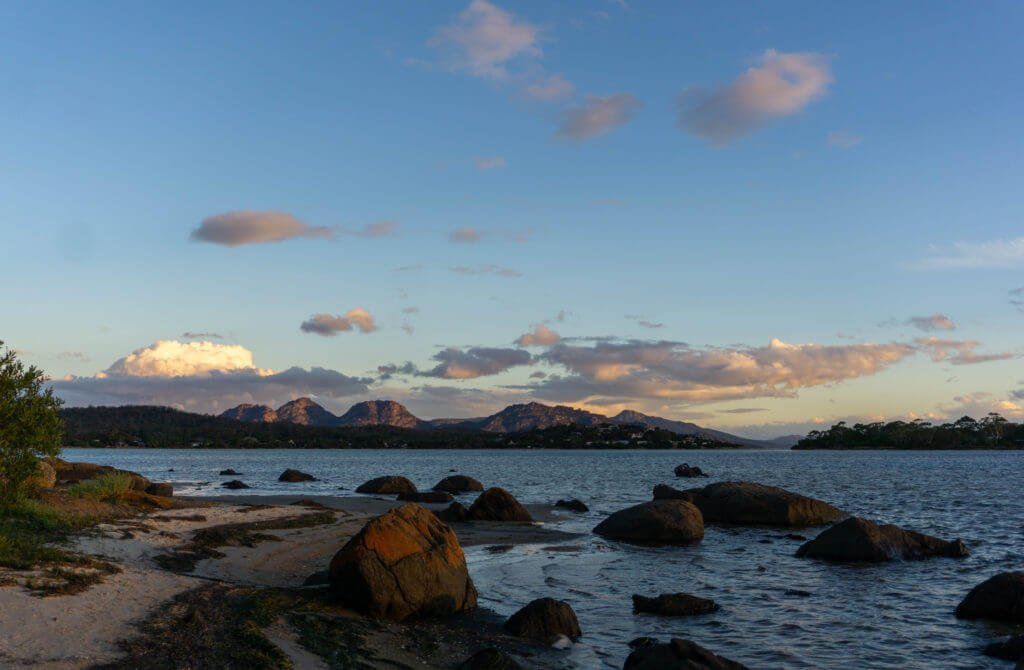 Sunset over Freycinet National Park.
